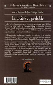 La société du probable ; Augustin Cournot et la naissance des mathématiques du social - 4ème de couverture - Format classique