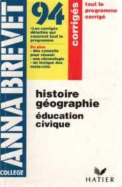 Annabrevet 94 histoire géographie education civique - Couverture - Format classique