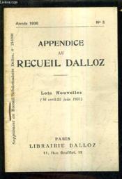 Appendice Au Recueil Dalloz N°8 Annee 1936 - Supplement Au Recueil Hebdomadaire Dalloz N°24-1936 - Lois Nouvelles 16 Avril 25 Juin 1936. - Couverture - Format classique