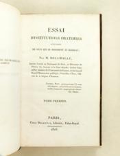 Essai d'Institutions Oratoires à l'usage de ceux qui se destinent au barreau (2 Tomes - Complet) - Couverture - Format classique
