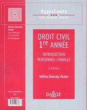Droit civil 1ère année ; introduction, personnes, famille (3e édition) - 4ème de couverture - Format classique