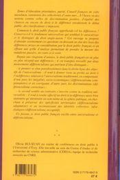 Le droit public francais entre universalisme et differencialisme - 4ème de couverture - Format classique