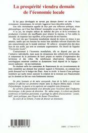 La Prosperite Viendra Demain De L'Economie Locale ; De La Mondialisation Aux Racines Territoriales De L'Economie - 4ème de couverture - Format classique
