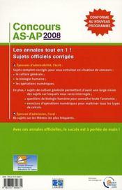 Concours As Ap 2008 - 4ème de couverture - Format classique