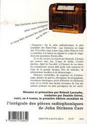 Intégrale des pièces radiophoniques t.2 ; suspense - 4ème de couverture - Format classique