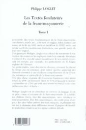 Les textes fondateurs de la franc-maçonnerie - 4ème de couverture - Format classique