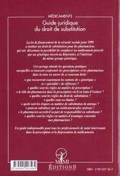 Medicaments ; Guide Juridique De La Substitution - 4ème de couverture - Format classique
