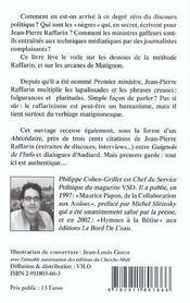 Jean-Pierre Raffarin : fulgurance, platitudes - 4ème de couverture - Format classique
