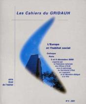 LES CAHIERS DU GRIDAUH N.5 ; l'Europe et l'Habitat social - Couverture - Format classique