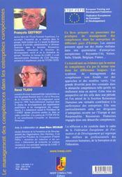 Le management des competences dans les entreprises europeennes. les differentes approches - 4ème de couverture - Format classique
