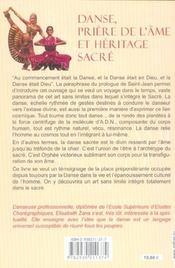 Danse. Priere De L'Ame Et Heritage Sacre - 4ème de couverture - Format classique