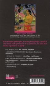 Le programme et la structure visible ; extraits de la logique du vivant - 4ème de couverture - Format classique