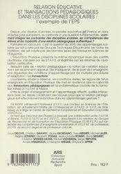 Relation éducative et transactions pédagogiques dans les disciplines scolaires : exemple de l'EPS - 4ème de couverture - Format classique