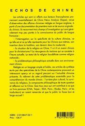 Echos de chine - 4ème de couverture - Format classique