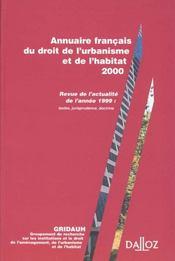 Annuaire francais du droit de l'urbanisme et de l'habitat n 4 - 2000 - 1ere ed. - Intérieur - Format classique