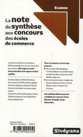 La note de synthèse aux concours des écoles de commerce - 4ème de couverture - Format classique