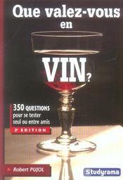 Que valez vous en vin ? - Intérieur - Format classique