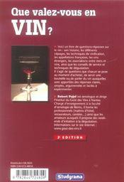 Que valez vous en vin ? - 4ème de couverture - Format classique