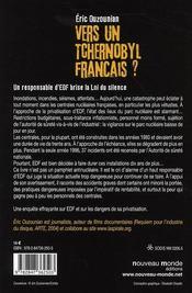 Vers un Tchernobyl français ? un responsable d'EDF brise la Loi du silence - 4ème de couverture - Format classique