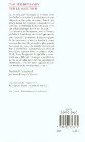 Sur le haschich (ne) - 4ème de couverture - Format classique