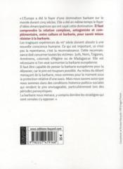 Culture et barbarie européennes (édition 2009) - 4ème de couverture - Format classique