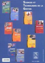 Économie ; terminale STG ; manuel de l'élève - 4ème de couverture - Format classique