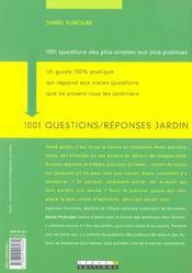 1001 Questions / Reponses Jardin - 4ème de couverture - Format classique