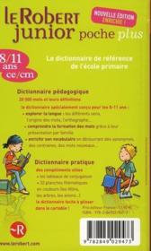 Dictionnaire Le Robert junior poche plus 8/11 ans - 4ème de couverture - Format classique