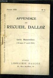 Appendice Au Recueil Dalloz N°6 Annee 1936 - Supplement Au Recueil Hebdomadaire Dalloz N°14-1936 - Lois Nouvelles 26 Mars - 1er Avril 1936. - Couverture - Format classique