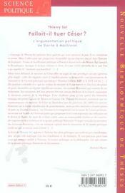 Fallait-il tuer César ? ; l'argumentation politique de Dante à Machiavel volume 3 - 4ème de couverture - Format classique