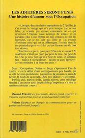 Les Adulteres Seront Punis ; Une Histoire D'Amour Sous L'Occupation - 4ème de couverture - Format classique