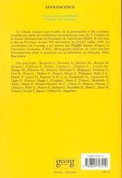 Revue Adolescence ; Spécial Ipsa ; Troubles De La Personnalité - 4ème de couverture - Format classique