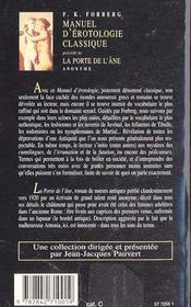 Manuel d'érotologie classique ; la porte de l'âne - 4ème de couverture - Format classique