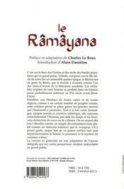 Le râmâyana - 4ème de couverture - Format classique