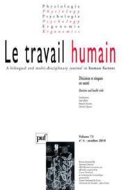 Revue Le Travail Humain N.73/4 (édition 2010) - Couverture - Format classique