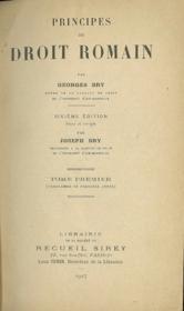 PRINCIPES DE DROIT ROMAIN. 6èmeéd. revue et corrigée, t. I (programme de 1èreannée) - Couverture - Format classique
