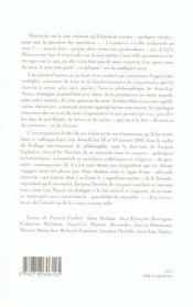 Sens En Tous Sens. Autour Des Travaux De Jean-Luc Nancy - 4ème de couverture - Format classique