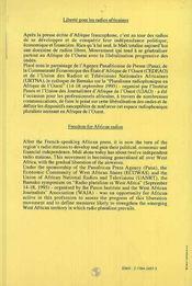 Liberté pour les radios africaines - 4ème de couverture - Format classique