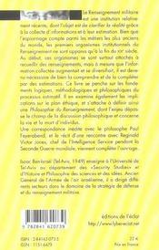 Philosophie Du Renseignement - 4ème de couverture - Format classique