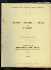 Institutions Politiques Et Sociales De L Antiquite. Tome Ii. 1964 - 1965. - Couverture - Format classique