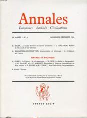 ANNALES : ECONOMIES SOCIETES CIVILISATIONS 39e ANNEE N°6 1984 : Le corps féminin en Grèce ancienne. En France, le roi dépensier..... - Couverture - Format classique