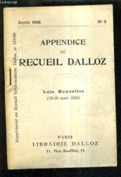 Appendice Au Recueil Dalloz N°5 Annee 1936 - Supplement Au Recueil Hebdomadaire Dalloz N°13-1936 - Lois Nouvelles 19-26 Mars 1936. - Couverture - Format classique