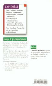 Lexiique De Geographie Humaine N.46 - 4ème de couverture - Format classique