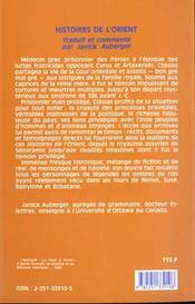 Histoires de l'orient - 4ème de couverture - Format classique