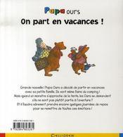 Papa ours ; on part en vacances ! - 4ème de couverture - Format classique