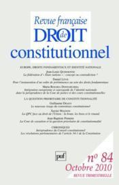 Revue Francaise De Droit Constitutionnel N.84 - Couverture - Format classique