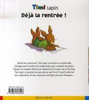 Timi lapin ; déjà la rentrée ! - 4ème de couverture - Format classique