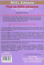 Annuaire Des Psychotherapeutes - 4ème de couverture - Format classique