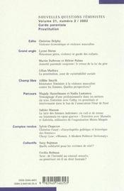 Revue Nouvelles Questions Feministes N.21/2 - 4ème de couverture - Format classique