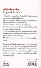 Le Grand Meaulnes ; Alain-Fournier - 4ème de couverture - Format classique